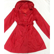 Piloto Impermeable Trench Mujer Rojo Capucha Nuevo Talle 7