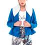 Chaqueta Campera Corto Paño Azul Bordado Mujer Basilotta