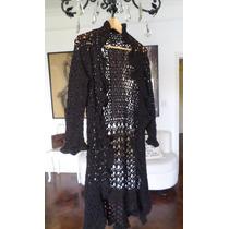 Saco Largo Tejido A Mano Crochet Negro !!