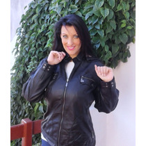 Campera Simil Cuero Negra Talle Large, Xl Y Xxl