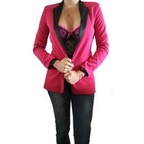 Unico Blazer Saco Importado Zara Fucsia Y Cuello Negro Nuevo