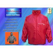 Siambretta Logo En Campera-rompeviento Impermeable C/capucha