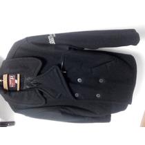 Saco De Paño Naval. Color Negro Con Forro De Abrigo Por Dent