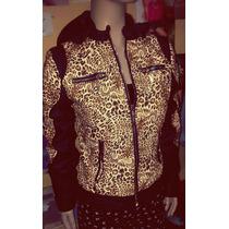 Campera Cuero Importada Mujer Animal Print Leopardo Chaqueta