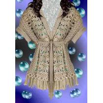 Saco Crochet Marron Negro Blanco Talle 1~2~3~4