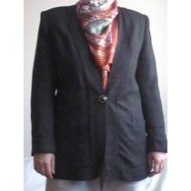 Clásico Cardigan De Vestir En Fioco Negro - Saco Sin Cuello