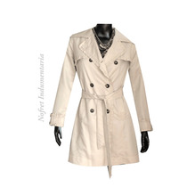 Piloto Impermeable Trench Natural Con Volados Mujer Nuevo