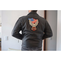 Campera De Cuero Hombre - U.s.a.- Escudo Harley Davidson