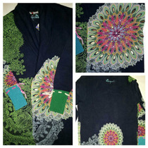 Desigual-cardigan Largo/trench/tapado Bordado-100%original