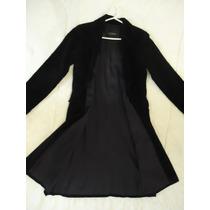 Saco Tapado Akiabara P/ Mujer De Pana Sintetica Color Negro