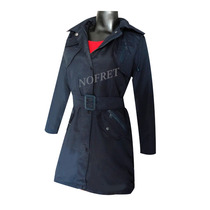 Piloto Trench Impermeable Azul Oscuro Capucha Mujer Nuevo