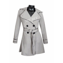 Piloto Impermeable Trench Beige Vivos Negros Nuevo Mujer