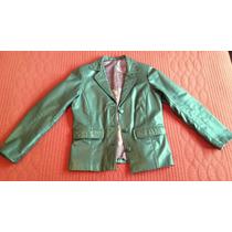 Blazer De Cuero Verde Ingles Talle S M Con Forro Y Detalles