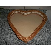 Bandeja Corazón De Mimbre, Desayuno 35 Cm X 35 Cm