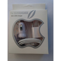 Kit 3 En 1 Cargador Iphone 4 3g 3gs 4g 4gs Accesorios Celu