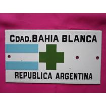 Antigua Chapa Enlozada Pequeña Tipo Petente / Bahia Blanca