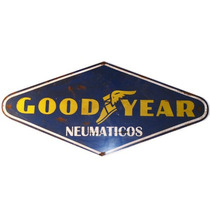 Cartel Antiguo Good Year De Chapa Gruesa 80x37cm Z-043