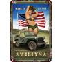 Cuadro Carteles Antiguos De Chapa 60x40cm Jeep Willys Au-286