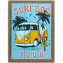 Cartel Cuadro De Madera Vintage Impreso Surf Combi Vw