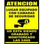 Cartel Aviso De Cámaras De Seguridad Alto Impacto 22x28 Cm
