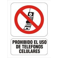 Cartel Prohibido El Uso De Tel. Celulares Alto Impacto 15x25