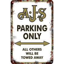 Carteles Antiguos Chapa 20x30cm Parking Only Ajs Moto Pa-00