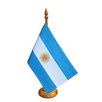 Bandera Argentina De Ceremonia De Escritorio C/mástil De Mad