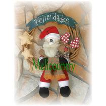 Muñecos Country Rosca 44cm +papà Noel Navidad Con Reno