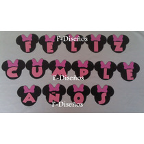 Cartel Guirnalda Cumpleaños Minnie Mickey + Nombre 6 Letras