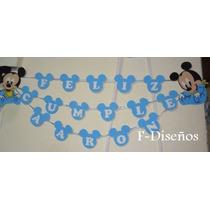 Cartel Guirnalda Feliz Cumpleaños + Nombre Modelo Mickey