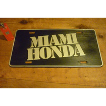Cartel Patente Miami Honda De Plastico Letras Relieve Retro