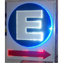 Cartel Led E ,estacionamiento Con Flecha