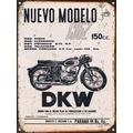 Cartel De Chapa Publicidad Antigua Dkw 150cc Y288