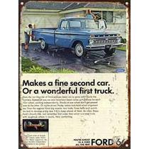 Cartel Chapa Publicidad Antigua Ford F100 1966 A036