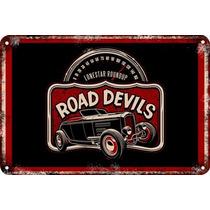 Carteles Antiguos Chapa 60x40cm Road Devils Hot Rods Au-577