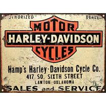 Cartel Chapa Publicidad Antigua Logo Harley Davidson X255