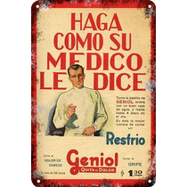 Carteles Antiguos De Chapa 30x45cm Publicidad Geniol Va-005