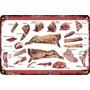 Carteles Antiguos Chapa 60x40cm Cortes De Carne Reses Al-164