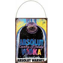 Cartel De Chapa Publicidad Antigua Absolut Vodka Warhol M527