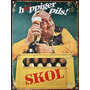 Cartel De Chapa Publicidad Antigua Cerveza Skol M593