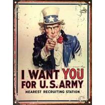 Cartel Chapa Vintage Publicidad Antigua Us Army M042