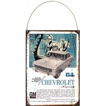 Cartel De Chapa Publicidad Antigua Chevrolet 64 L220