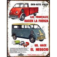 Cartel Chapa Publicidad Antigua 1962 Dkw Auto Union L248