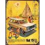 Cartel De Chapa Publicidad Antigua Fiat 1500 Familiar X215