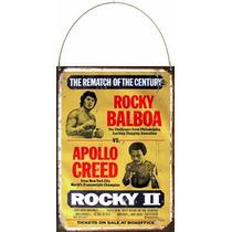 Cartel Chapa Publicidad Antigua Boxeo Rocky Vs Apollo L146