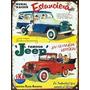 Cartel Chapa Publicidad Antigua Estanciera Y Jeep Ika L256