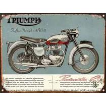 Cartel De Chapa Publicidad Antigua Moto Triumph Y222