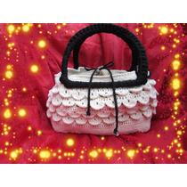 Cartera De Escamas Tejido Crochet Con Manijas Lentejuelas