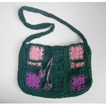 Cartera Tejida Al Crochet. Artesanal