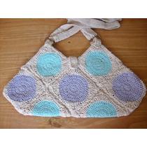 Cartera Tejida Al Crochet En Estilo Rústico- Artesanal